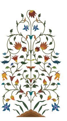 Textile Pattern Design, Motif Design, Pattern Art, Arabesque, Flower Art Images, Folk Art Flowers, Mughal Paintings, Indian Flowers, Islamic Art Pattern