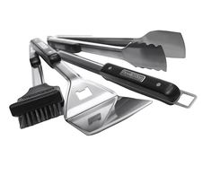 The Broil King® Imperial™ 4 piece barbecue tool set features a durable design tough enough for even the most demanding griller. The set includes a turner, locking tong, silicone basting brush, and grill brush. Bbq Grill Set, Gas And Charcoal Grill, Grill Brush, Stainless Steel Grill, Grill Accessories, Bbq Tools, Shops, Cooking Tools, Tool Set