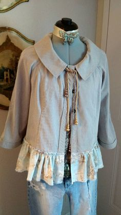 SHORT JACKET TOP With Ruffled Toile Fabric by MissPoppysFancy