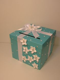 Tiffany blue Wedding Card Box Gift Card Box Money Box Holder-Customize your color on Etsy, $79.00
