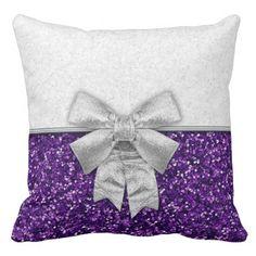 Purple/Silver Festive Glittery Christmas Throw Pillow