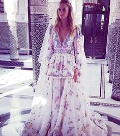 Poppy Delevingne wearing a gorgeous Emilio Pucci wedding dress for her Marrakesh wedding. \