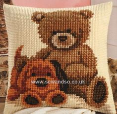 Buy Popcorn and Biscuit Cushion Front Chunky Cross Stitch Kit Online at www.sewandso.co.uk