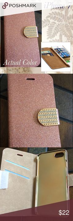 💎 Sparkle and Shine 💎 iPhone 7 Phone Case 💎 💎 Sparkle and Shine 💎 iPhone 7 Phone Case 💎 Two-Tone 💎 Rose Gold with Gold Jeweled Clasp 💎 Tan Suede Interior with Card Holder 💎 Accessories Phone Cases