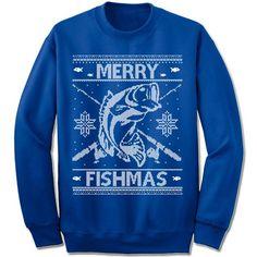 """Merry Fishmas"" Sweater Unisex fleece crewneck sweatshirt. - Double-needle stitched neckline and armholes - Rib waistband and cuffs S M L XL XXL XXXL Across Shoulders 19.5"" 21.5"" 23.5"" 25.5"" 27.5"" 29."