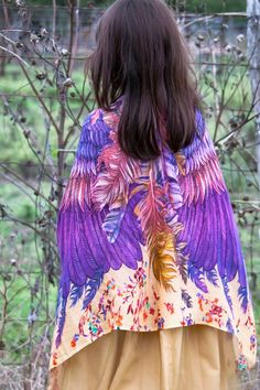 Colorful wings fit for an angel! A beautiful hand painted scarf that is 100% silk.