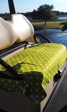 Golf Chic Bags Ladies Golf Cart Seat Covers - Green   White Polka Dot Print ab5f67e8babe2