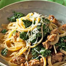 "Fettuccine with Sausage & Kale Recipe. This was amazing! I think this is the best way I've had Kale. I used cauliflower ""alfredo"" sauce as well and it was superb together."