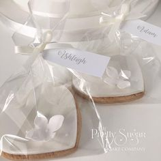 White pearl lustre heart cookie wedding favours