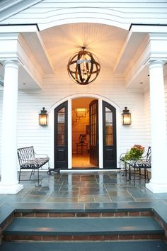 Front steps and porch - Colonial - Traditional - White Clapboard - Richmond, MA - Interior Designer Grant Larkin
