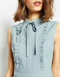 Shop ASOS TALL Frill Front Mini Shirt Dress at ASOS. Neckline Designs, Dress Neck Designs, Kurta Designs, Blouse Designs, Kurta Neck Design, Sleeves Designs For Dresses, Mini Shirt Dress, Fashion Sewing, Trendy Dresses