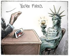 Adam Zyglis - The Buffalo News - Fear of Refugees COLOR - English - america, gop, syrian, refugees, immigration, liberty, values, lady, middle east, terrorism, donald, trump, carson, cruz, candidates, president, race, election, republicans, conservatives, islamophobia, muslims