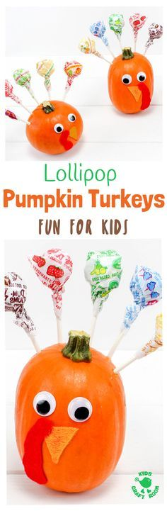 LOLLIPOP PUMPKIN TURKEYS - an easy turkey craft for kids. This fun Fall nature craft and Thanksgiving craft makes a tasty table centrepiece the whole family will enjoy. Load the cute turkeys with all your favourite flavoured suckers. What a treat! Gobble, gobble, yum! #ThanksgivingCraft #TurkeyCraft #PumpkinCraft #Thanksgiving #Turkey #KidsCrafts #KidsCraftIdeas #CraftsForKids via @KidsCraftRoom