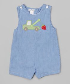 Loving this Royal Tow Truck & Strawberry Appliqué Shortalls - Infant on #zulily! #zulilyfinds