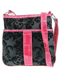 Hipster Adjustable Strap Cross Body Velvet Damask Print Purse Black and Hot Pink