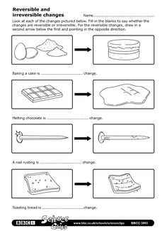BBC - Schools Science Clips - Reversible and irreversible changes Worksheet