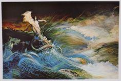 SEA WITCH Frank Frazetta Vintage Art 1967 Ocean Fantasy GGA Waves Snake Lizard #Vintage