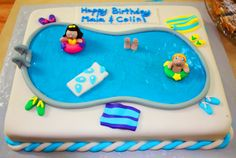Pool Party Cakes for Girls   ... we decided to have a pool party for her and also for her cousin colin