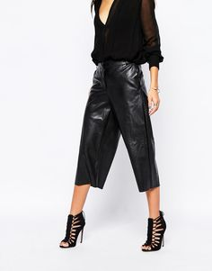 River Island | River Island Faux Leather Wide Leg Culotte at ASOS