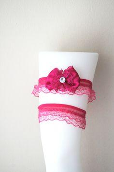 Free ship-LUX Hot Pink Prom Garter Wedding by ArtofAccessory