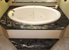 Forest Black (Granite) Bathtub Surround and Step. Big Baths, Large Baths, Marble Bathtub, Bathtub Surround, Step Edging, Black Granite, Mold And Mildew, Black Forest