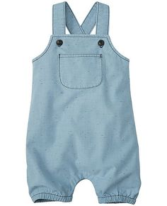 It doesn't get any easier than this crazy-cute and ready-to-play chambray romper. (And play, and wash, and play...)   •NEW baby/toddler sizes = a perfect fit for every little one  •Washed flecked cotton/poly chambray   •Bib with front patch pocket  •Adjustable crossback straps   •Snap placket for easy changes  •Gathered stretch leg openings  •Imported