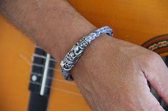 bracelet homme biker crâne ,acier et cuir tressé.très belle qualité : Bijoux pour hommes par made-with-love-in-aiacciu