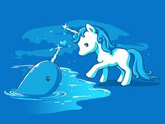 teeturtle - Forbidden Love - Unicorn and Narwhal tshirt