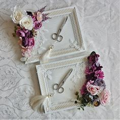Idea - glue artificial flowers on plain trays. :)