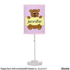 Happy bear with customizable banner nursery lamp