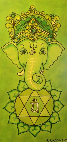Ganesha tribute chakra paintings. I did one a day for 7 days. This is painting #4 of 7- Anahata.  The heart chakra which can be represented by either the colour green or pink.