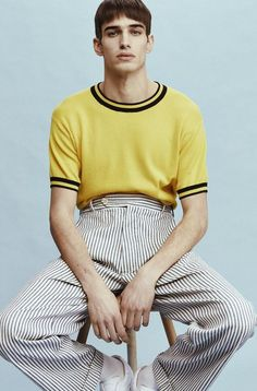 menswear that look cool. that look cool. Mens Yellow Pants, Yellow Sweater, A Single Man, Look Zara, Moda Men, Mode Lookbook, La Mode Masculine, Mode Editorials, Mode Inspiration