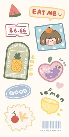 Cute Pastel Wallpaper, Kawaii Wallpaper, Wallpaper Iphone Cute, Aesthetic Iphone Wallpaper, Printable Stickers, Cute Stickers, Journal Stickers, Planner Stickers, Dibujos Cute
