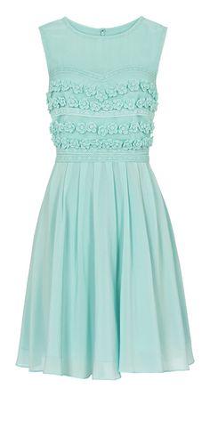Mint dress - cute floral details