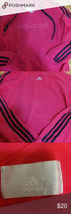"""❤ adidas Hoodie Super cute and chic Style adidas Hoodie, Size S, Color Pink and black Shiny Stripes. Super tine flags shows on pic 5. * armpit to armpit 18"""". Sleeve 23"""". adidas Tops Sweatshirts & Hoodies"""