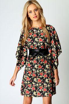 Shannon Oriental Printed Kimono Dress www.boohoo.com