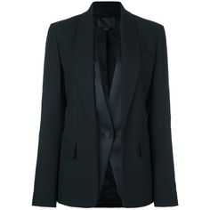 Alexander Wang tuxedo layered blazer ($895) ❤ liked on Polyvore featuring outerwear, jackets, blazers, black, tuxedo blazer, long sleeve jacket, shawl collar tuxedo, dinner suit and alexander wang