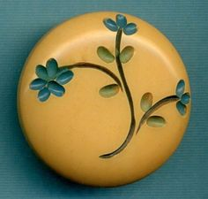 Large Vintage Creamed Corn Bakelite Button...Carved with Painted Flowers