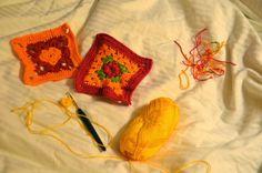 Beginn des Häkelprojektes für Helenes Helfer e.V. zum Teil aus Wollresten / Crocheting grannies for Helenes Helfer e.V. partly from scraps of wool