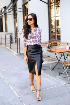 How to wear a brown leather skirt. | Must wear! | Pinterest ...