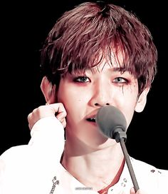 Someone tell him is eyeliner is running! Baekyeol, Chanbaek, Hapkido, Exo Fan, Baekhyun Chanyeol, Asian Boys, Kpop Groups, Make Me Smile, Idol
