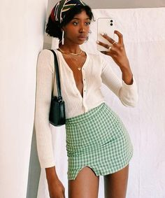 The 1995 Check Mini Skirt // Green Cute Casual Outfits, Pretty Outfits, Girl Outfits, Crazy Outfits, Look Fashion, 90s Fashion, Fashion Outfits, Crazy Fashion, Club Fashion