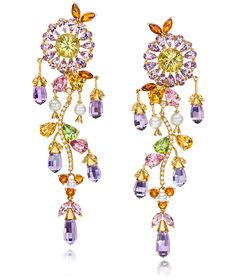 Cellini Jewelers Lavender Sun Flower Drop Earrings These unique earrings are composed of two scapolite round tops, which are surrounded by amethyst petals and detailed with citrine. Hanging from the scapolite are amethyst briolettes, pink tourmaline, peridot, citrine and japanese pearls.