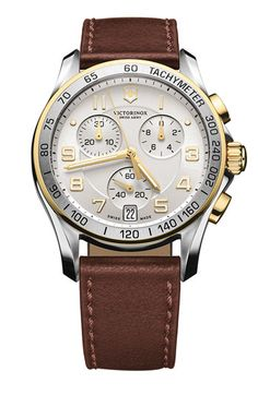 Brown leather strap, classic quality.  It's for men but looks good on my wrist :)  Victorinox Swiss Army® 'Chrono Classic' Leather Strap Watch | Nordstrom