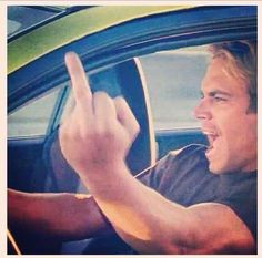 His signature- giving the finger-Paul Walker We Always Love You, Paul Walker, Fast And Furious, Picture Video, Finger, Dads, Boyfriend, Mood, Actors