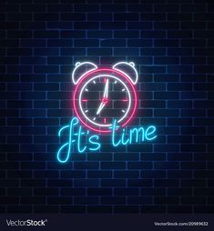 Glowing neon sign with alarm clock and cheering vector Neon Wall Signs, Neon Signs Quotes, Wallpaper Iphone Neon, Iphone Wallpaper Tumblr Aesthetic, Logo Online Shop, Neon Symbol, Whatsapp Logo, Neon Licht, New Retro Wave