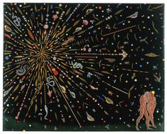 Living in Sin & Virtue: Artists' Mixer at Museum of Biblical Art Fred Tomaselli. Study for Expulsion, 2000. Leaves, pills, acrylic, photocollage, and resin on wood panel. 24 x 30 in. © The Artist / Courtesy of James Cohan Gallery, New York/Shanghai