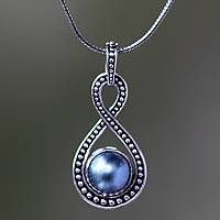 Blue Mabe Pearl and Sterling Silver Pendant Necklace Pearl Pendant Necklace, Silver Necklaces, Sterling Silver Pendants, Pendant Jewelry, Stone Jewelry, Silver Jewelry, Wire Jewelry Patterns, Silver Rings With Stones, Christian Jewelry