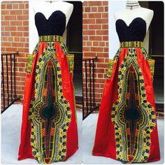 Burgundy Dashiki Skirt ($110) ❤ liked on Polyvore featuring skirts, black, women's clothing, high waist long maxi skirt, long floor length skirts, burgundy skirt, black high waisted skirt and high waisted long skirt