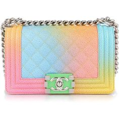 CHANEL Cavair Quilted Printed Rainbow Small Cuba Boy Flap ❤ liked on Polyvore featuring bags, handbags, shoulder bags, leather shoulder handbags, chanel handbags, blue leather purse, leather purses and blue purse